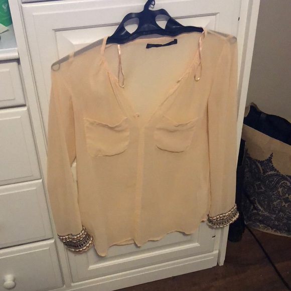 Zara Tops - Pale pink top with beaded sleeve